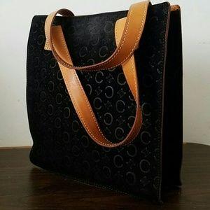 Celine black suede monogram bag authentic
